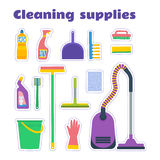 Cleaning supplies  set. Cleaning supplies sticker set. Vector set Royalty Free Stock Photo