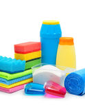Cleaning supplies, sponge, cleaning powder and garbage bags Royalty Free Stock Photo