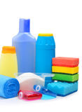 Cleaning supplies, sponges, cleaning powder and  garbage bags Royalty Free Stock Photos
