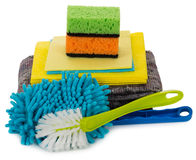 Cleaning supplies, sponges, rags, brushes Royalty Free Stock Photography