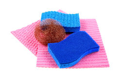 Cleaning Supplies Sponges Scouring Pad Royalty Free Stock Photography
