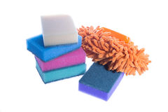 Cleaning supplies. Sponges and soft brush Stock Photography