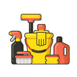 Cleaning supplies. Still life in flat cartoon style. Vector illustration Stock Photography