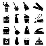 Cleaning supplies and tools. Icon set Royalty Free Stock Photos