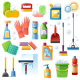 Cleaning Supplies Tools Flat Icons Set Stock Photography