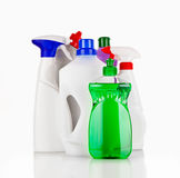 Cleaning supplies. Various bottles with cleaning supplies isolated on white background Royalty Free Stock Photography