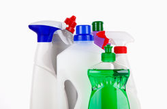 Cleaning supplies. Various bottles with cleaning supplies isolated on white background Stock Photography