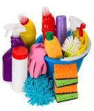 Cleaning supplies, view from above Royalty Free Stock Images