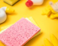 Cleaning supplies washing sponge close up stock photos