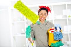 cleaning supplies woman στοκ φωτογραφίες