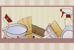 Cleaning supply background. A cleaning supply background done in a hand drawn style. Some linear gradients used. Cleaning items are grouped on same layer. Red stock illustration