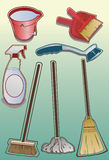 Cleaning supply Icons Stock Images
