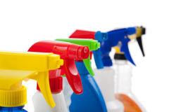Cleaning supply spray botles ion white Stock Photos