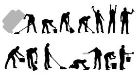 Cleaning sylwetek czerń ilustracji