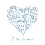 cleaning Symboler i formen av en hjärta Royaltyfria Bilder