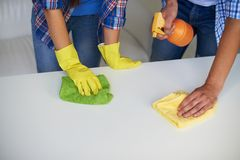 Cleaning table Royalty Free Stock Image
