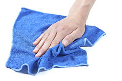 Cleaning table with a wet cloth Royalty Free Stock Images