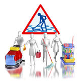 Cleaning team. 3d rendering illustration, Cleaning team  on white background Stock Images