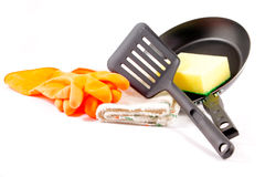 Cleaning the teflon pan Royalty Free Stock Photo