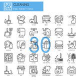 Cleaning , thin line icons set Stock Photo