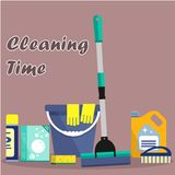 Cleaning time concept. Flat illustration. Vector cleaning products symbols. It can be used for the websites, banners, typographical products Royalty Free Stock Photos