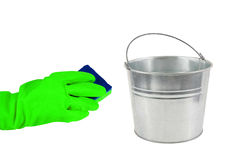 Cleaning time-Rubber Gloves with Sponge and Pail Royalty Free Stock Images