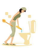 Cleaning Toilet royalty free stock photography