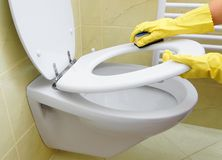 Cleaning toilet Royalty Free Stock Photos