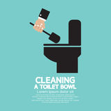Cleaning a Toilet Bowl royalty free illustration