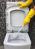 Cleaning of toilet bowl Stock Photo