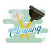 Cleaning toilet brush and plunger supplies. Vector illustration Stock Photos