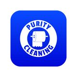 Cleaning toilet icon blue vector. Isolated on white background royalty free illustration