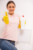 Cleaning the toilet stock photography