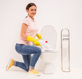 Cleaning the toilet Royalty Free Stock Photo