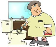 Cleaning Toilets Royalty Free Stock Images