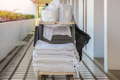 Cleaning tool cart of housekeeper or maid in hotel Royalty Free Stock Photography