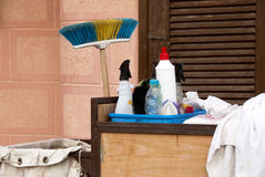 Cleaning tools. Some professional cleaning equipment tools royalty free stock image