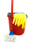Cleaning tools. With bucket, mops over white stock image