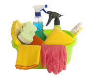 Cleaning tools. Such as detergent, towels and brush isolated on white background Royalty Free Stock Image