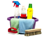 Cleaning tools. House hold related cleaning tools on white royalty free stock photo