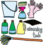 Cleaning tools. Tools for cleaning on white background. vector image Stock Photography
