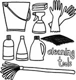 Cleaning tools. Black and white tools for cleaning on white background. vector image Stock Photography
