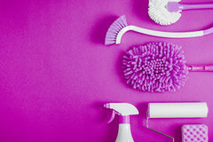 Cleaning tools blue background. Housecleaning stock images