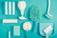 Cleaning tools blue background. Housecleaning royalty free stock photography