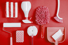 Cleaning tools blue background. Housecleaning stock photo