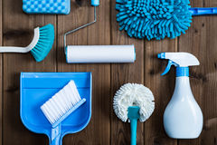 Cleaning tools blue background. Housecleaning royalty free stock images