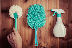 Cleaning tools blue background. Housecleaning royalty free stock photo