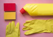 Cleaning tools. cleaning equipment in yellow and red colors.Top view with copy space royalty free stock images