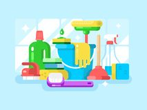 Cleaning tools and detergent Stock Photos