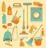 Cleaning tools in doodle style Royalty Free Stock Photos